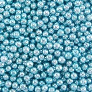 Nicoles Zuckerwerk Zuckerperlen Metallic Blau 4mm