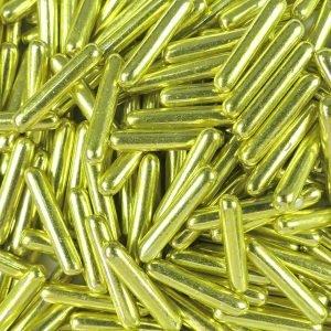 Nicoles Zuckerwerk Zuckerstäbchen Metallic Gelb-Gold XL